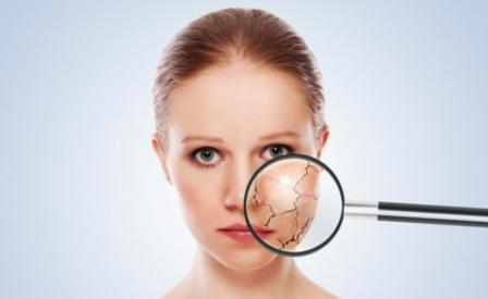 Сухая кожа лица под увеличительным